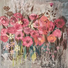Floral Frenzy Pink I Painting Print on Wrapped Canvas