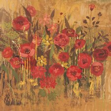 Floral Frenzy Red V Painting Print on Wrapped Canvas