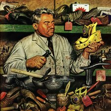 Shoe Repairman by Stevan Dohanos Painting Print on Wrapped Canvas