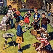 Backyard Dog Show by Amos Sewell Painting Print on Wrapped Canvas