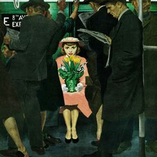Subway Girl and Easter Lily by George Hughes Painting Print on Wrapped Canvas
