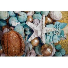 Blue and Gold Shell Decor by Irena Orlov Painting Print on Wrapped Canvas
