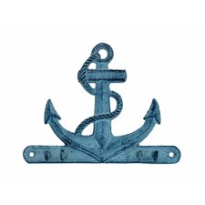 """Anchor 7"""" Rustic Silver Cast Iron Wall Hooks"""
