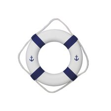 "Anchor 15"" Classic White Decorative Lifering with Bands Wall Décor"