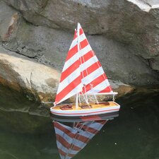 Wooden It Floats - Rustic Striped Floating Model Sailboat