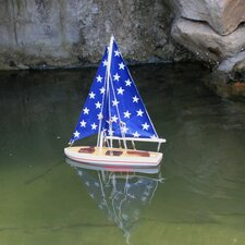 "12"" Wooden It Floats - Big Stars Floating Model Sailboat"