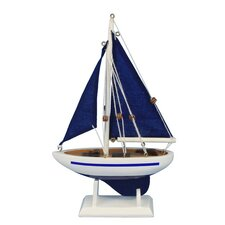 "Pacific Sailer 9"" Blue Wooden Model Sailboat"