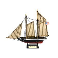Wooden America Model Decorative Sailboat