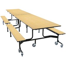 Mobile Folding Cafeteria Bench Table Wheelchair Accessible