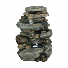 Lighted Polyresin Stone Waterfall Fountain