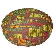 """Good Dog"" Pattern Round Dog Pillow"