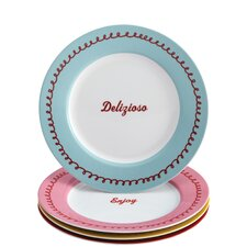 """4 Piece """"Icing and Quotes"""" Serveware Porcelain Dessert Plate Set"""
