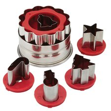 6 Piece Holiday Linzer Cookie Cutter Set