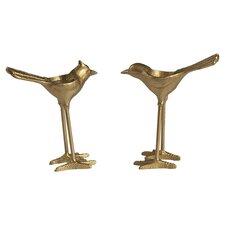 2 Piece Cast Iron Bird Figurine Set