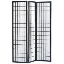 """Sam 70"""" x 52"""" 3 Panel Room Divider with Rice Paper Paneling"""
