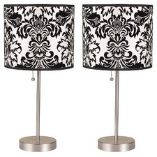 """Ruslana 18.5"""" H Table Lamp with Drum Shade (Set of 2)"""