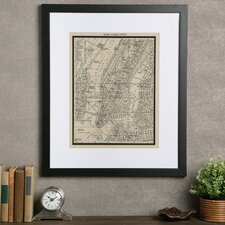 Vintage New York City Map Framed Print