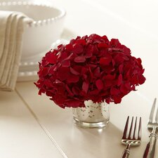 Preserved Red Hydrangea in Mercury Glass Vase