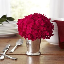 Preserved Red Hydrangea in Silver Cup