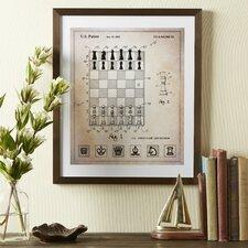 Chess Board Framed Blueprint