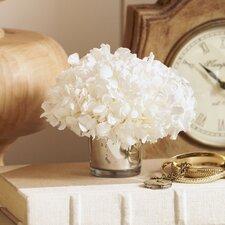 Preserved White Hydrangea in Mercury Glass Vase