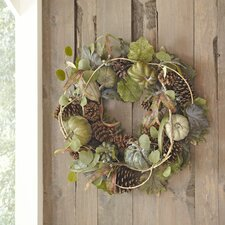Faux Heirloom Pumpkin and Pinecone Wreath
