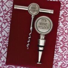 2 Piece It's Wine O'clock Cork Screw Stopper Set