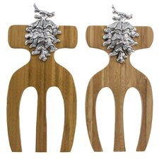 Pine Cone Bamboo Salad Hands (Set of 2)