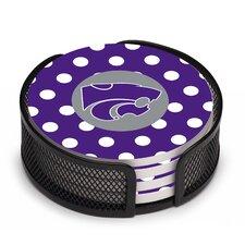 5 Piece Kansas State University Dots Collegiate Coaster Gift Set