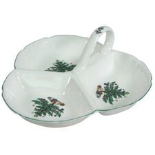 Xmas Dinnerware Three Section Divided Serving Dish