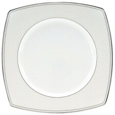 "Platinum Beaded Pearl 9"" Square Accent Plate (Set of 4)"