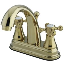 English Vintage Double Handle Centerset Bathroom Faucet with Pop-Up Drain