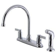 Double Handle Centerset Kitchen Faucet with Side Sprayer