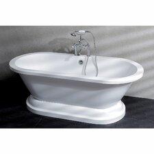 """Aqua Eden 67"""" x 31.5"""" Pedestal Double Bathtub"""