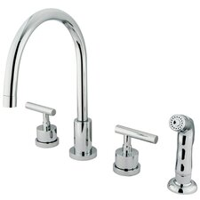 Manhattan Double Handle Widespread Kitchen Faucet with Non-Metallic Spray