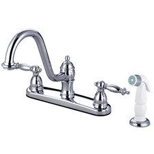 Templeton Double Handle Centerset Kitchen Faucet with White Spray