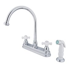 Restoration Double Handle Kitchen Faucet with White Non-Metallic Spray
