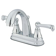 English Vintage Double Handle Centerset Bathroom Faucet with Brass Pop-Up Drain