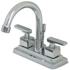 Executive Double Handle Centerset Bathroom Faucet with Brass Pop-Up Drain