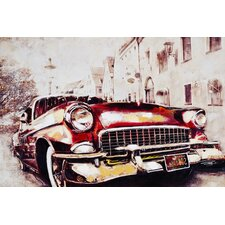 Vintage Car in Red Wall Art