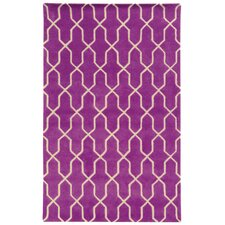 Optic Geometric Purple & Ivory Area Rug