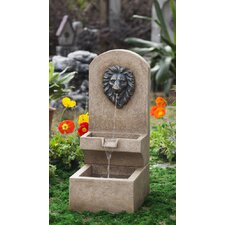 Polyresin and Fiberglass Lion Head Wall Tier Fountain