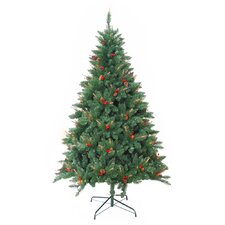 Pre-Lit 7' Green Berrywood Pine Artificial Christmas Tree with 400 Pre-Lit Lights with Stand