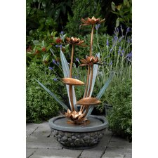 Polyresin and Fiberglass Tiered Metal Flower Water Fountain