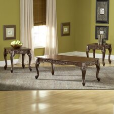 3 Piece Carved Coffee Table Set