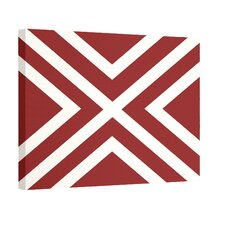 """X"" Marks the Spot Stripes Print Outdoor Graphic Art on Canvas in Red and White"