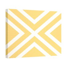 """X"" Marks the Spot Stripes Print Outdoor Graphic Art on Canvas in Yellow and White"