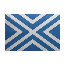 """X"" Marks the Spot Stripes Print Azure Outdoor Area Rug"