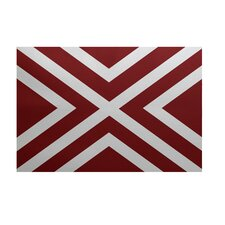 """X"" Marks the Spot Stripes Print Cardinal Outdoor Area Rug"
