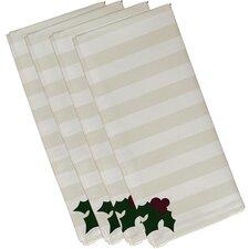 Holly Tones Holiday Stripe Print Napkin (Set of 4)